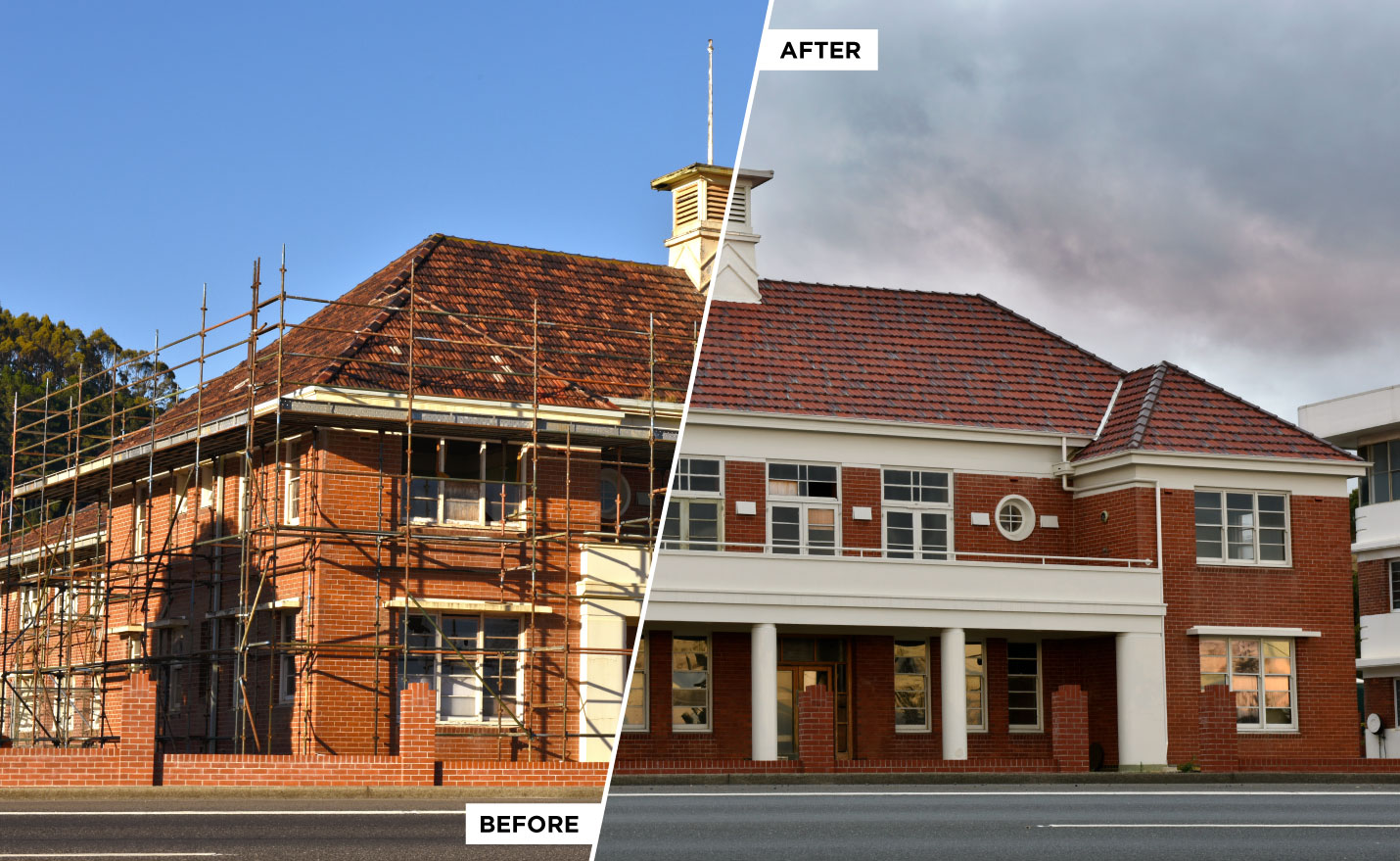 Before and after view of the restored paper mill office building in Burnie, Tasmania.